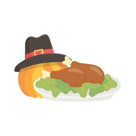 happy thanksgiving day baked turkey pumpkin with hat