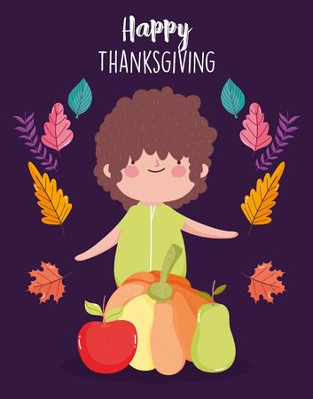 happy thanksgiving day little boy with pumpkin apple and pear