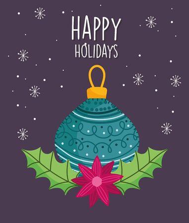 merry christmas celebration green ball flower leaves snowflakes 스톡 콘텐츠 - 134052008
