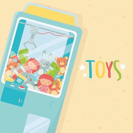 claw machine with joystick controller doll teddies toys Ilustração