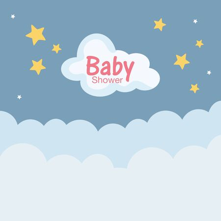baby shower soft clouds stars