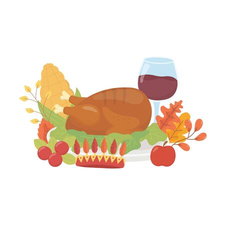 happy thanksgiving day dinner wine corn and turkey apple