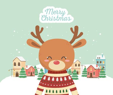 merry christmas celebration cute deer with sweater town snow