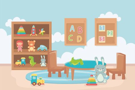 board with numbers alphabet table chair shelf room toys