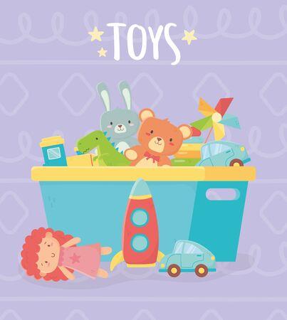 blue bucket with many funny toys Ilustração