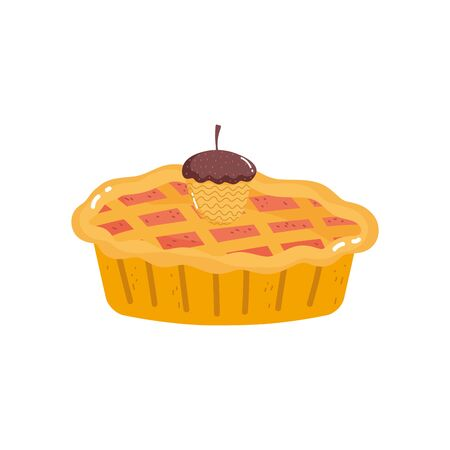 acorn and sweet cake on white background