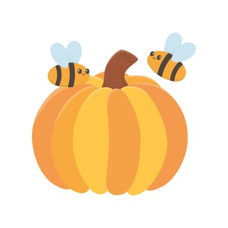 happy thanksgiving day pumpkin and flying bees