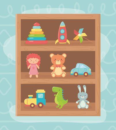wooden shelf rocket bear doll rabbit car train toys Stock Illustratie