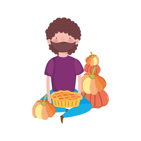 happy thanksgiving day man sitting with cake and pumpkins