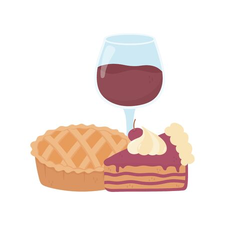 wine glass cup and slice cake and sweet pie  イラスト・ベクター素材