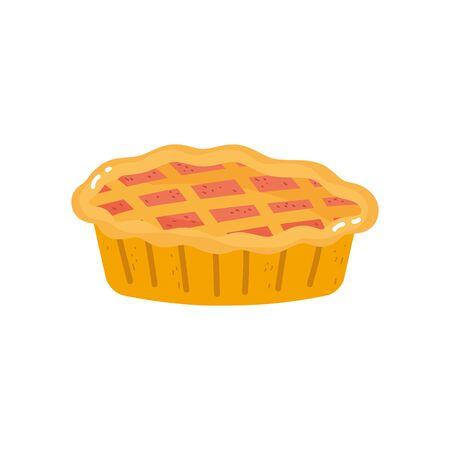 sweet pie dessert on white background Vettoriali