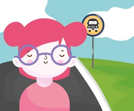 happy girl waiting the bus stop street Ilustracja
