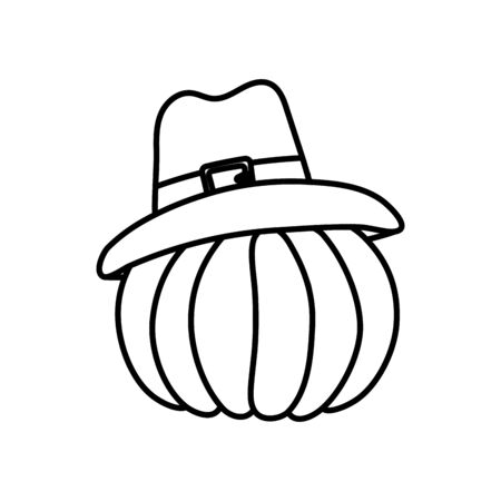 happy thanksgiving day pumpkin with pilgrim hat thick line Vettoriali