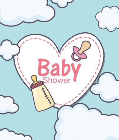 baby shower sticker heart pacifier and feeding bottle  イラスト・ベクター素材
