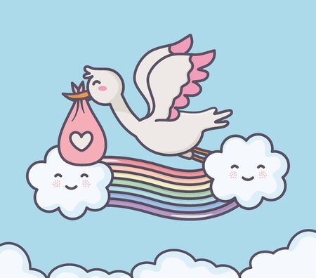 baby shower stork diaper pink rainbow clouds sky