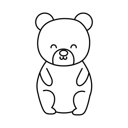 cute bear toy sitting on white background thick line