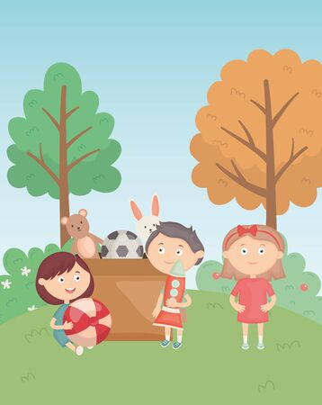 boys and girl with box and toys in the park Stock Illustratie