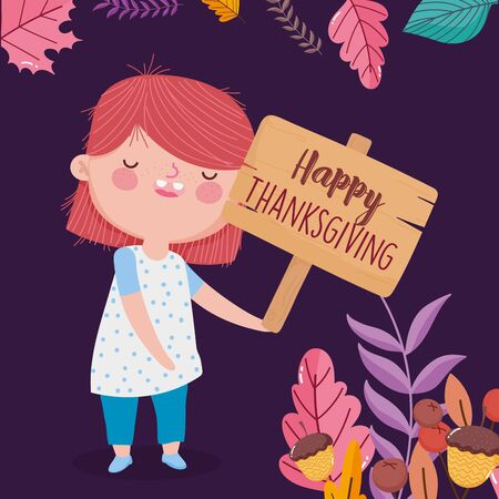 happy thanksgiving day cute girl holding wooden sign