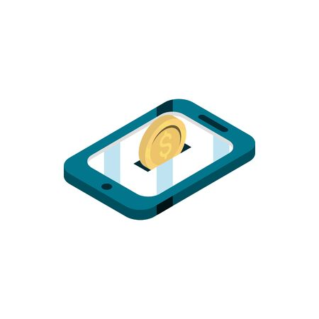 smartphone coin money online shopping isometric icon