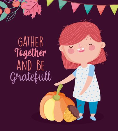 happy thanksgiving day cute girl with pumpkin acorn pennant decoration