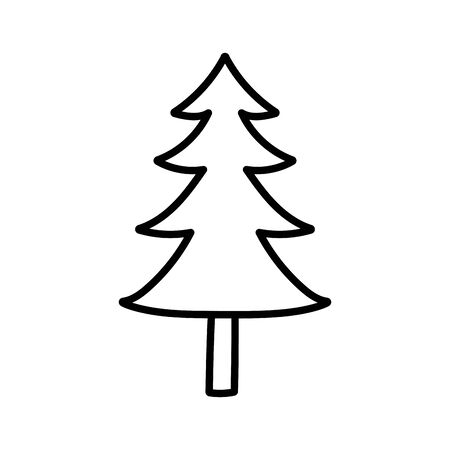 pine tree foliage botanical on white background thick line  イラスト・ベクター素材