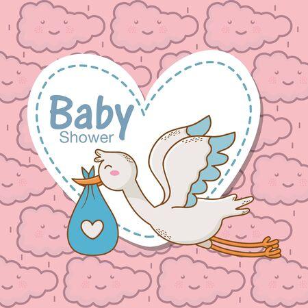 baby shower stork diaper blue heart sticker clouds background
