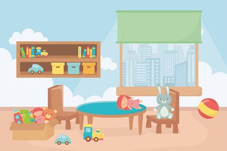 playroom with shelf boxes ball table chair window city