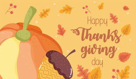 happy thanksgiving day pumpkin acorn foliage background