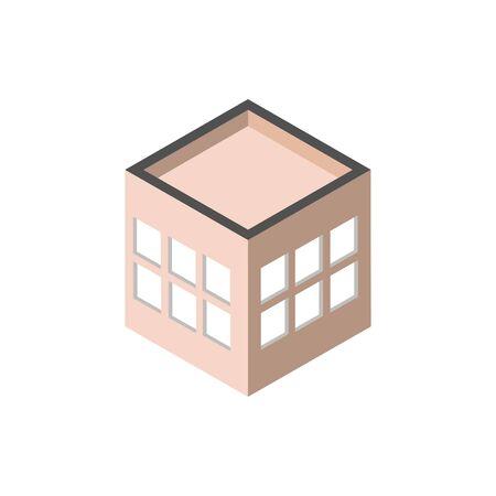 block windows roof building isometric style