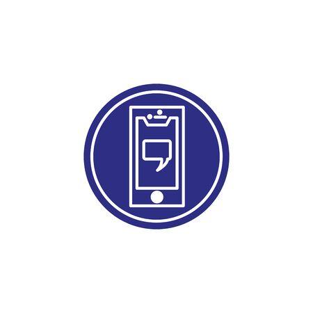Social media bubble and smartphone icon block flat design