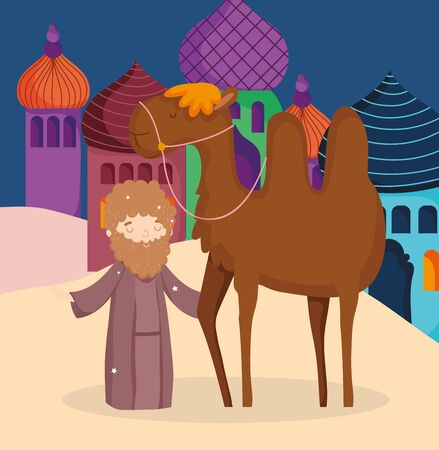 shepherd with camel desert nativity, merry christmas Illustration