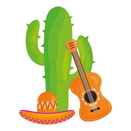 planta de cactus con sombrero mexicano y guitarra Ilustración de vector