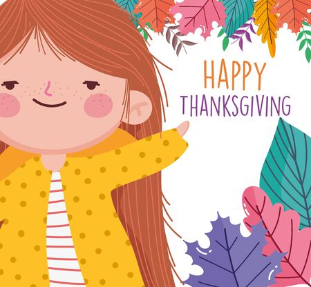 happy thanksgiving celebration cute little girl foliage leaves