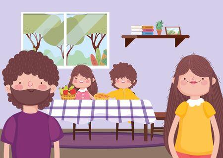 Eltern und Kinder im Speisesaal fröhliche Erntedankfeier