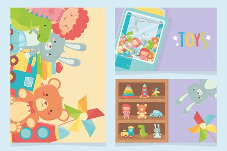 claw machine and shelf many toys Illustration