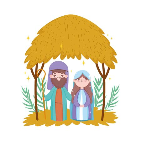 joseph and mary hut desert nativity, merry christmas