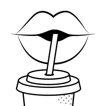 labbra che bevono soda in bianco e nero Vettoriali