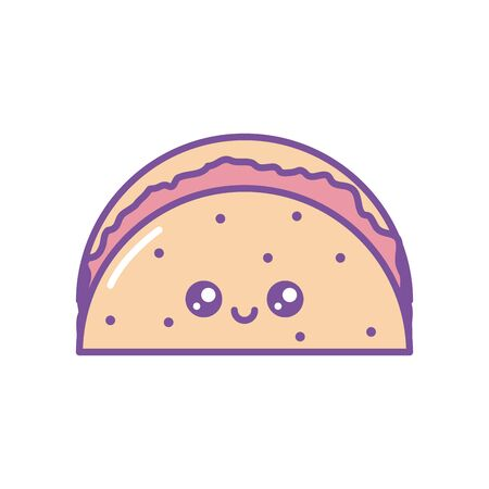 Isolated kawaii tacos icon fill design
