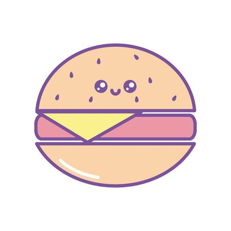 Isolated kawaii hamburger icon fill design