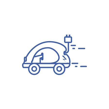 Isolated plug and eco car icon line design Illustration