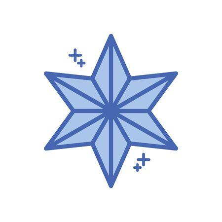 icona di stile di riempimento stella a sei punte Vettoriali