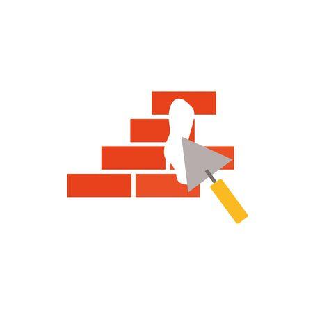 Isolated construction bricks and trovel flat design Ilustrace