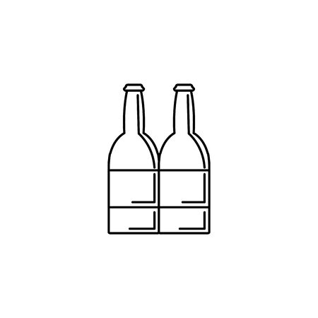 Isolated beer bottle icon line design