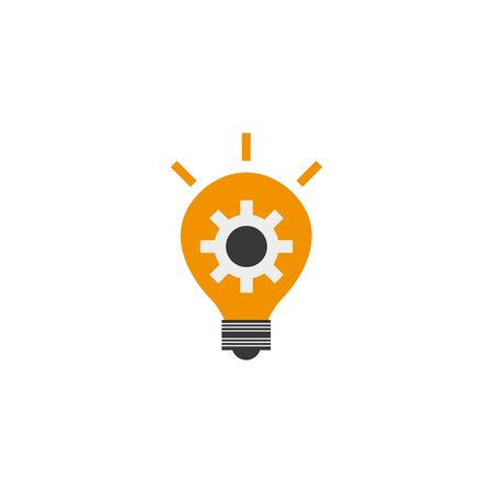 gear in bulb solution idea icon flat style