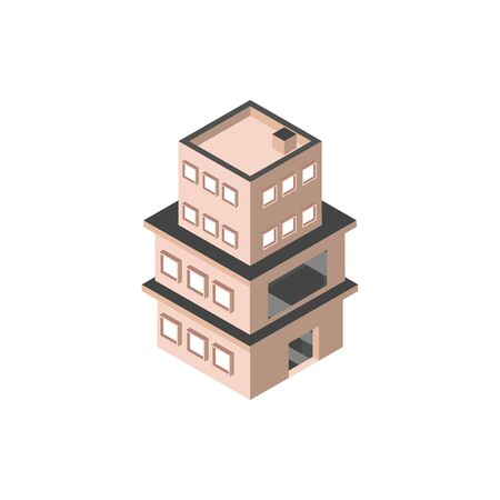 three story building with terrace isometric style