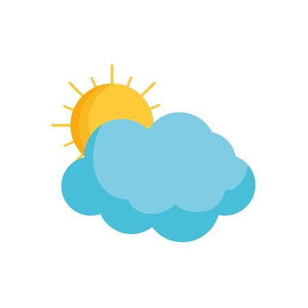 summer sun with clouds fill style Иллюстрация