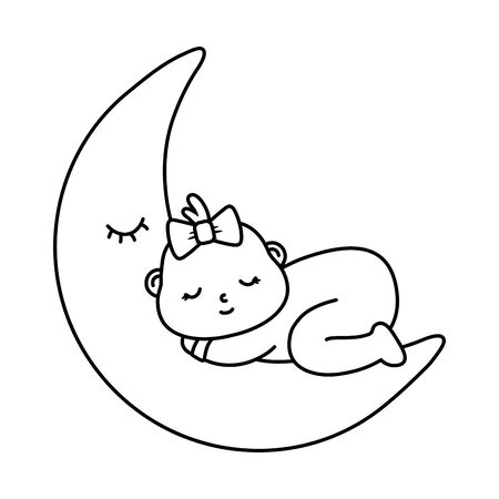 baby sleeping on the moon in black and white