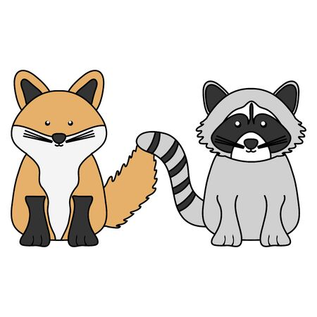 cute raccoon and fox woodland characters vector illustration design