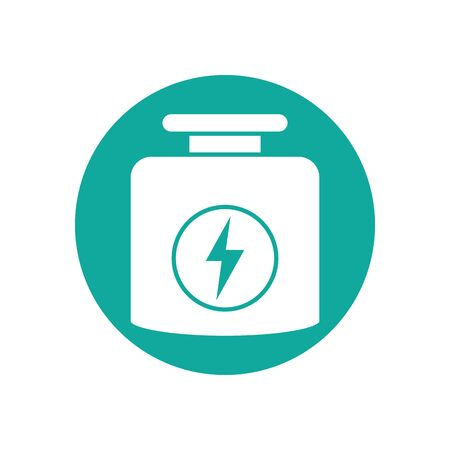Isolated gym supplement icon block line design