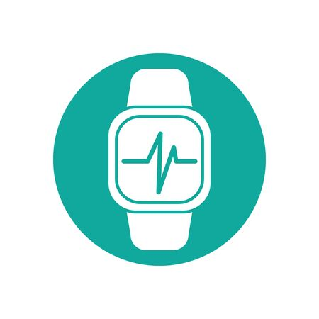 Isolated smartwatch and pulse icon block line design